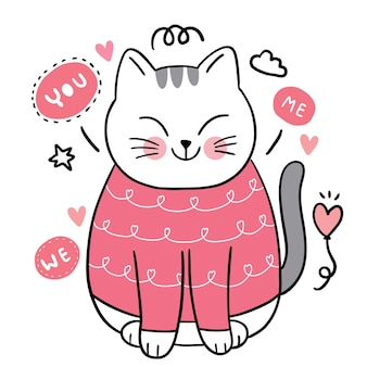 Hand draw cartoon cute for valentine day with doodle cat and hearts vector