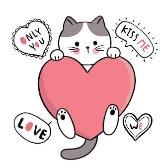 손으로 그리는 만화 귀여운 발렌타인 데이, 고양이와 큰 마음