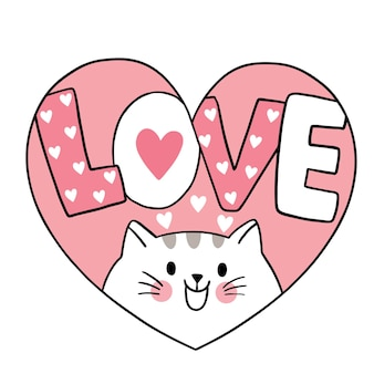 Hand draw cartoon cute valentine's day, cat andlove in heart frame