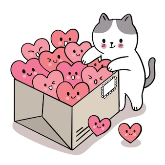 Hand draw cartoon cute valentine's day, cat and many hearts in box
