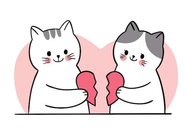 손으로 그리는 만화 귀여운 발렌타인 데이, 고양이 및 하프 하트