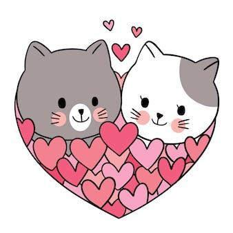 손으로 그리는 만화 귀여운 발렌타인 데이, 고양이 및 많은 마음