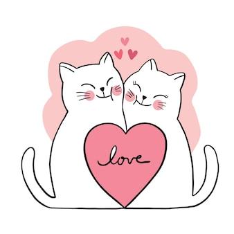 Рука рисовать мультфильм милый день святого валентина, пара кошек и большое сердце