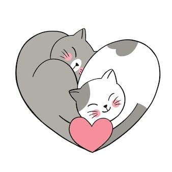 Рука рисовать мультфильм милый день святого валентина, пара кошек и сердце