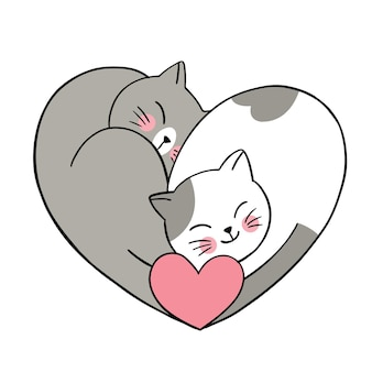 Hand draw cartoon cute valentine's day, couple cats and heart