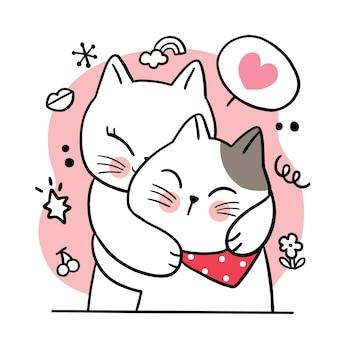 Рука рисовать мультфильм милый день святого валентина, обниматься пара кошек