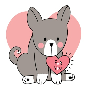 Рука рисовать мультфильм милый день святого валентина, сердце собаки и нагрудника