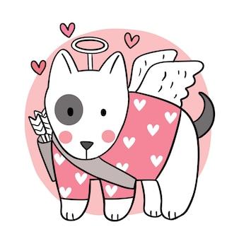 手描き漫画かわいいバレンタインデー、犬のキューピッド