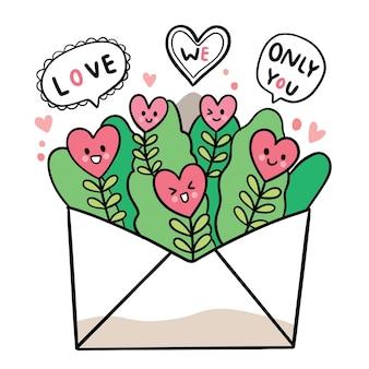 Рука рисовать мультфильм милый день святого валентина, heartand лист большой буквой