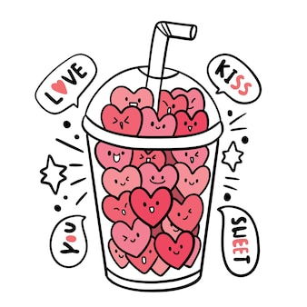 Hand draw cartoon cute valentine's day, hearts in glass