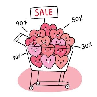 Hand draw cartoon cute valentine's day, many hearts in cart