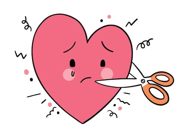 Hand draw cartoon cute valentine's day, sad heart