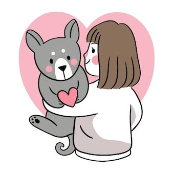 手描き漫画かわいいバレンタインデー、犬を抱き締める女性