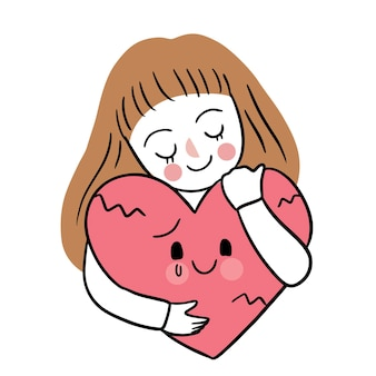 Hand draw cartoon cute valentine's day, woman and sadness heart
