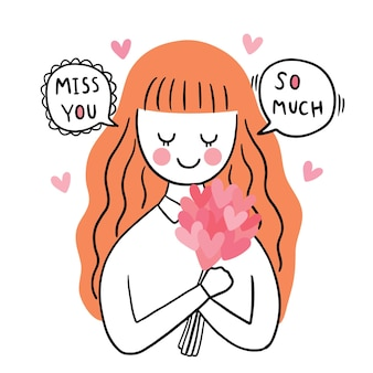Hand draw cartoon cute valentine's day, womanand heart flower