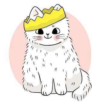 Рука рисовать мультфильм милый белый кот и корона вектор