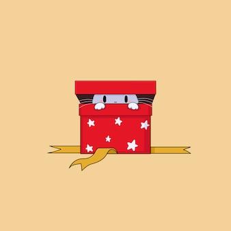 赤いギフトbox.christmasベクトルイラストに手を引く猫。