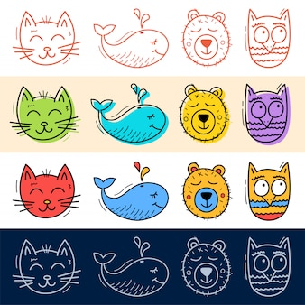 Hand draw cat, owl, whale, bear icon set in doodle style for your design.