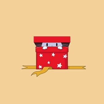 Hand draw cat in the red gift box.christmas vector illustration.