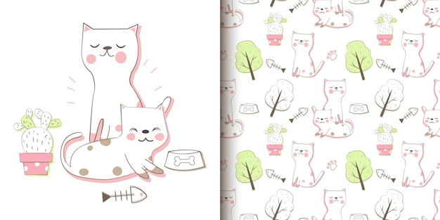 Hand draw cats seamless pattern