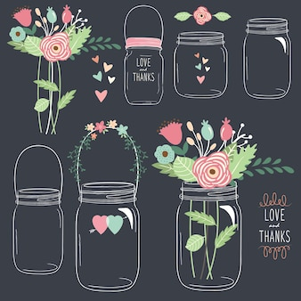 Hand draw chalkboard flower jar
