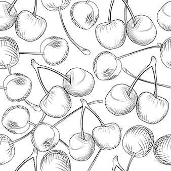 Hand draw cherries seamless pattern on a white background