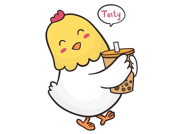 手で泡茶で鶏を描く