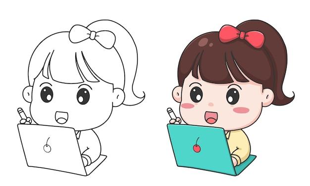 손으로 그리는 아이들은 소녀와 노트북 만화로 그림을 색칠합니다.