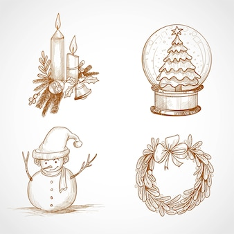 Hand draw christmas icon set design