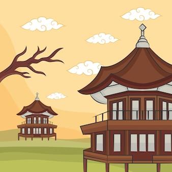 Рука рисовать концепцию храма фестиваля чусок. иллюстрация