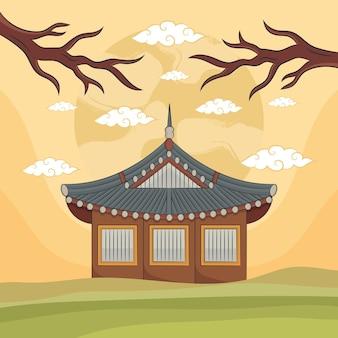 Рука рисовать храм фестиваля чусок. иллюстрация