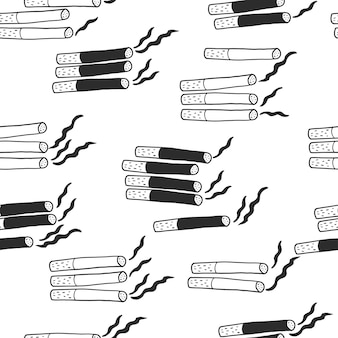 Hand draw cigarettes pattern background for world no tobacco day