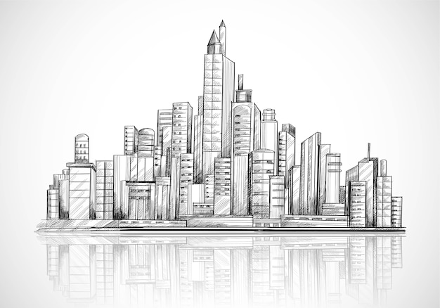 Hand draw city skyline sketch