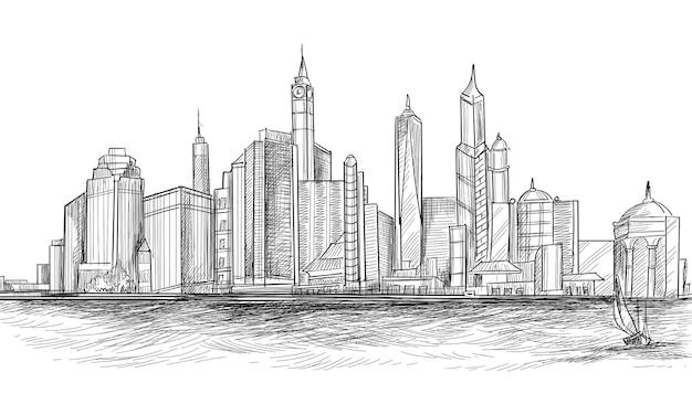 손으로 그리는 도시 스카이 라인 스케치