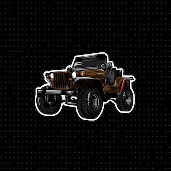 Hand draw classic jeep car