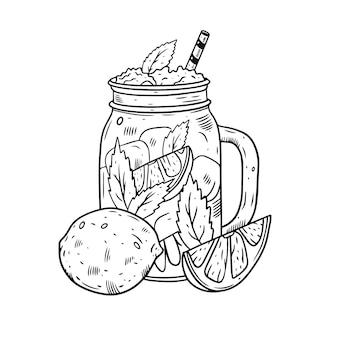 Рука нарисовать коктейль в банке с лимоном. стиль гравировки черного цвета.
