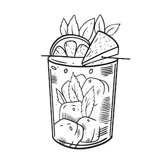 Рука нарисовать коктейль с ананасом, мятой и апельсином.