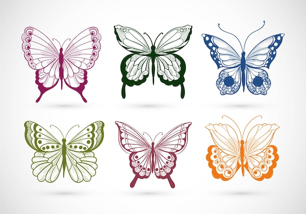 Hand draw collection of pretty colorful butterflies design