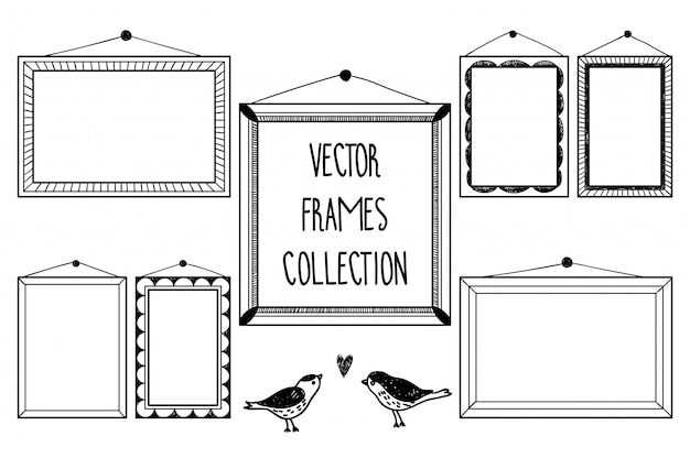 Hand draw collection with blank frames