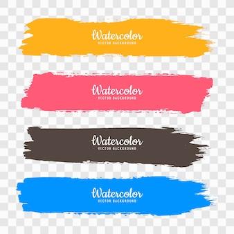 Hand draw colorful watercolor strock set vector Free Vector