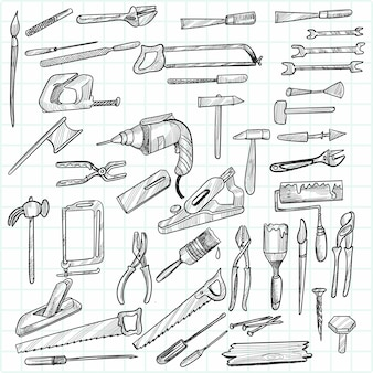 Hand draw construction tools sketch set