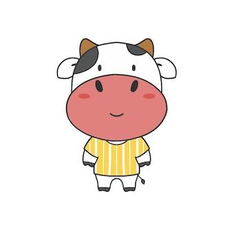 シャツにカット牛を手描き