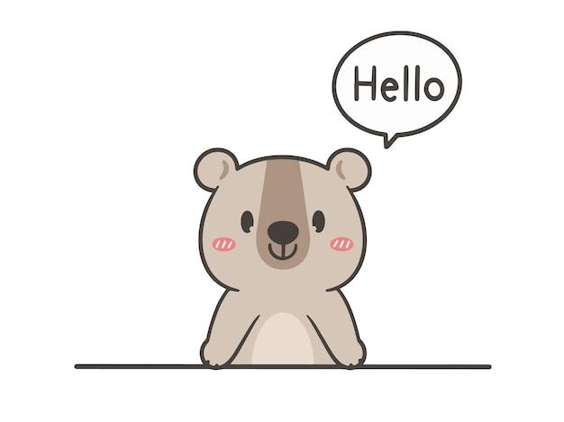 Hand draw cute bear say hello