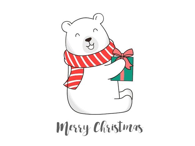 ギフトボックスでかわいいクマを手描き
