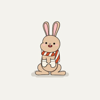 Hand draw cute brown rabbit