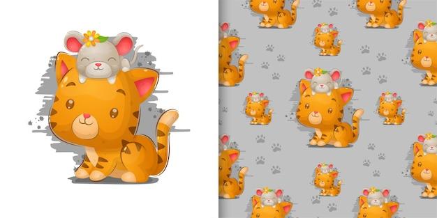 Рука рисовать милый кот с мышью на голове в узорной иллюстрации Premium векторы