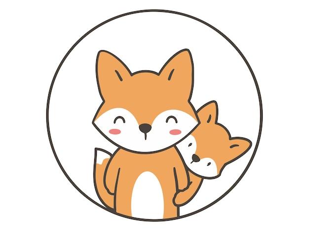 Рука рисовать милая пара лиса.