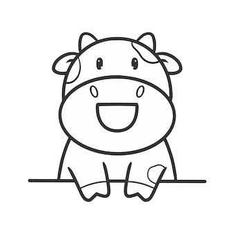 手描きかわいい牛の着色
