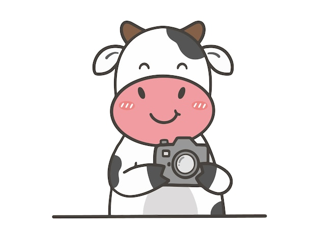 Hand draw cute cow with camera
