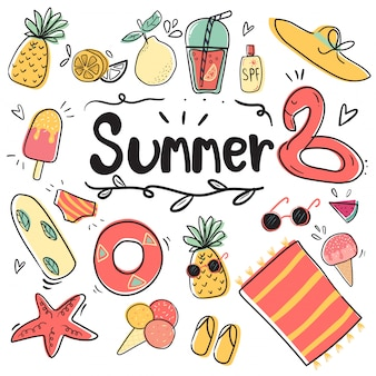 Hand draw cute doodle icon summer collection
